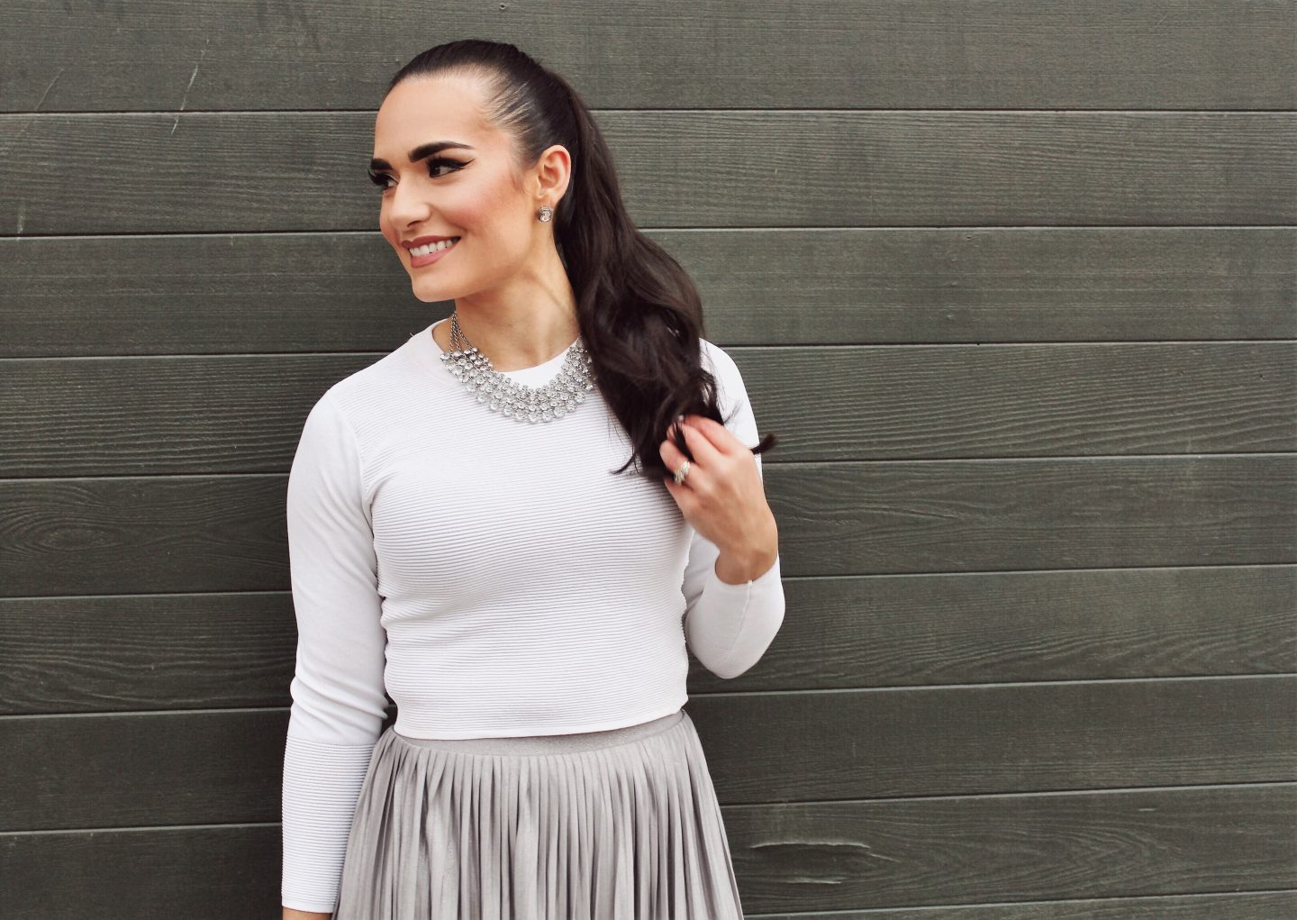 Holiday Looks Under $50 Silver skirt