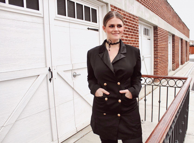 HOliday Look under $50 Black tuxedo dress